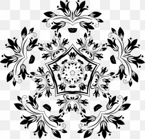 Flower - Black And White Floral Design Flower Pattern PNG