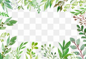 Green Summer Plant Hand-painted Border - Green Plant Euclidean Vector Vecteur PNG