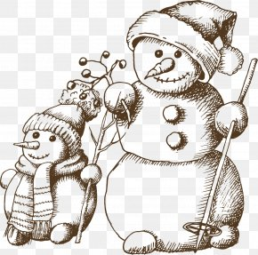 Winter Snowman Sketch Material - Drawing Christmas PNG