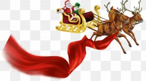 Red Ribbon Santa Claus Gifts Reindeer Pattern - Rudolph Santa Claus Royalty-free Clip Art PNG