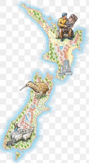 Hand Painted New Zealand Map - New Zealand North Island Brown Kiwi Map Royalty-free Illustration PNG