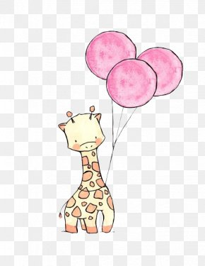 Giraffe Balloon - Paper Drawing Art Watercolor Painting Illustration PNG