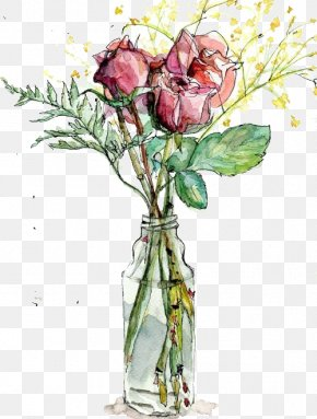 The Rose In The Vase - Garden Roses Vase Watercolor Painting Drawing Illustration PNG
