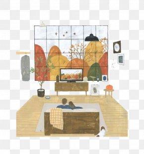 Cartoon Couple Watching Television - Artist Illustrator Drawing Illustration PNG