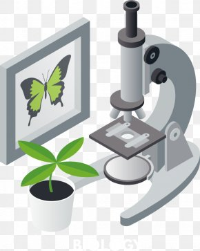 Vector Plants And Microscope - Microscope Illustration PNG
