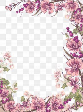 Ink Purple Flowers Border Background - Flower Floral Design Euclidean Vector Illustration PNG