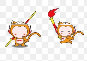 Cartoon Monkey Mascot Vector - Sun Wukong Monkey Cartoon Illustration PNG