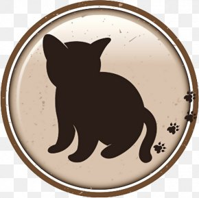 Round Cartoon Cat And Footprint Sign - Cat Dog Logo PNG