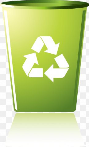 Vector Green Design Creative Green Green Trash Can Icon - Recycling Symbol Recycling Bin Waste Container PNG