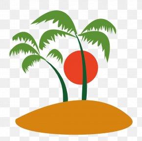 Vector Trees And Sun - Ilha Do Coqueiro Coconut Tree Clip Art PNG