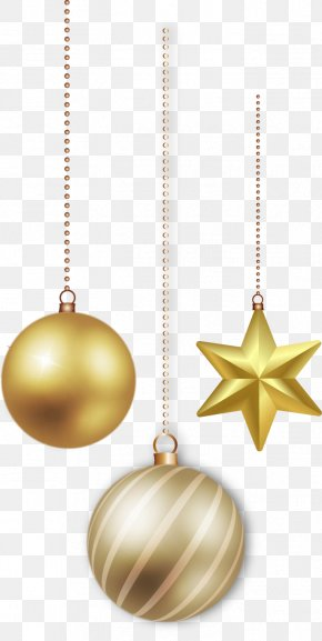Vector Hand-painted Christmas Decoration Balls - Christmas Ornament Gold PNG