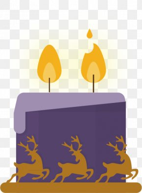 Hand-painted Purple Candle Candle Flame Vector Material - Light Candle Flame PNG