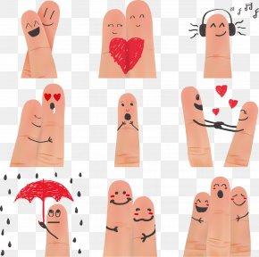 Vector Cute Creative Finger - Finger Nail Facial Expression Digit Smile PNG