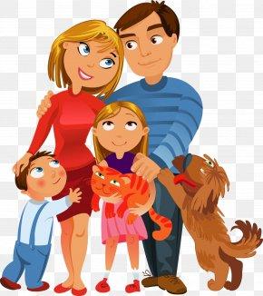 Hand-painted Cartoon Family - Family Royalty-free Cartoon Illustration PNG