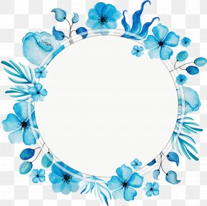 Watercolor Blue Wreath Title Box - Flower PNG