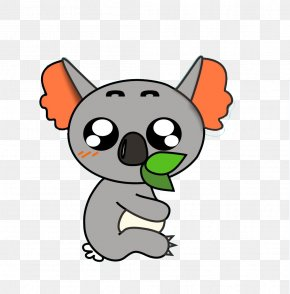 Cartoon Koala Eating Leaves - Koala Drawing Cartoon PNG
