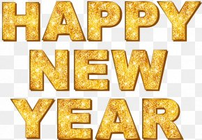 Gold Happy New Year English WordArt - New Year's Day PNG