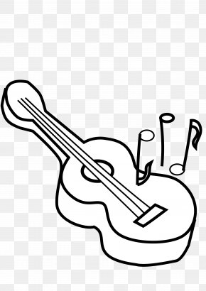 Black And White Guitar - Ukulele Electric Guitar Black And White Clip Art PNG