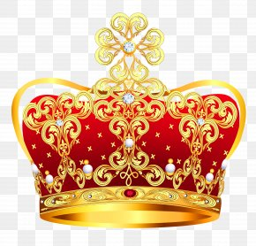 Gold And Red Crown With Pearls Clipart Picture - Crown Clip Art PNG