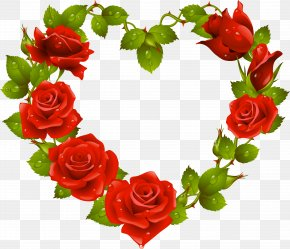 Heart - Heart Garden Roses Flower Red Clip Art PNG