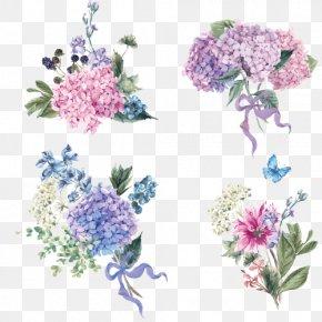 Hand-painted Watercolor Bouquet - Hydrangea Flower Euclidean Vector Stock Illustration PNG
