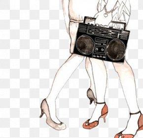 Woman Holding A Radio Lower Body - Artist Blog Illustrator Illustration PNG