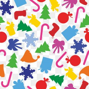 Cute Christmas Background - Santa Claus Christmas Tree Snowflake PNG