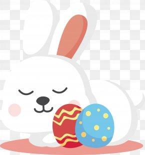 Design Of Easter White Rabbit - Easter Bunny White Rabbit Easter Egg Illustration PNG