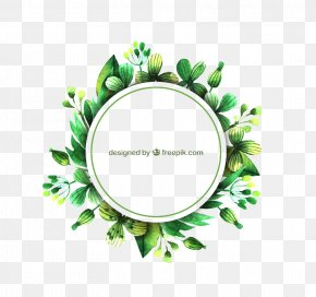 Free Green Circle Border Pattern Buckle - Leaf Euclidean Vector Watercolor Painting PNG