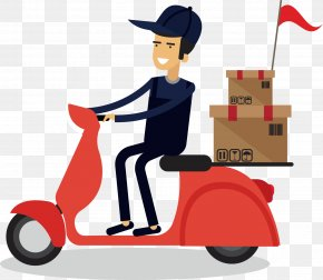 Motorcycle Decoration Vector Material - Courier Delivery SF Express PNG