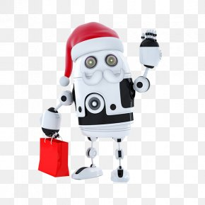 Robot Mention Red Bags - Santa Claus Robot Stock Photography Android Illustration PNG