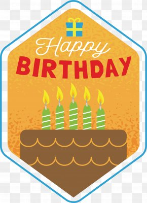 Hexagon Birthday Cake Label - Birthday Cake PNG