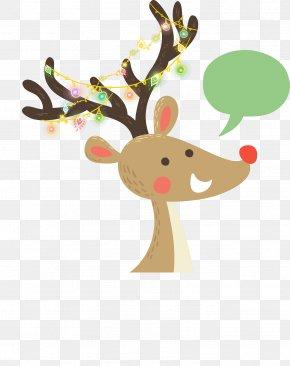 Vector Cute Cartoon Deer Christmas Decoration - Reindeer Rudolph Christmas Cartoon PNG