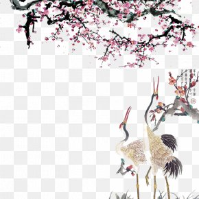 Red Crowned Crane Under Ink And Wash Peach Blossoms - Crane Cherry Blossom Peach PNG