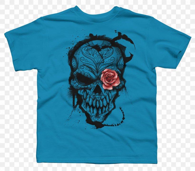 Calavera Day Of The Dead Human Skull Symbolism T-shirt, PNG, 1800x1575px, Calavera, Active Shirt, Aqua, Art, Blue Download Free