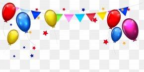 Balloon Bunting Stars Border - Birthday Cake Cartoon Clip Art PNG