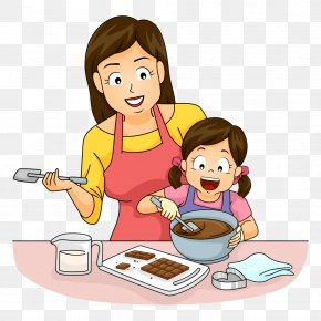 Mother And Daughter Make Chocolate - Cooking Mother Baking Clip Art PNG