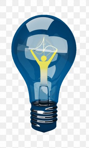 Blue Villain Light Bulb - Incandescent Light Bulb Electric Light Lamp PNG