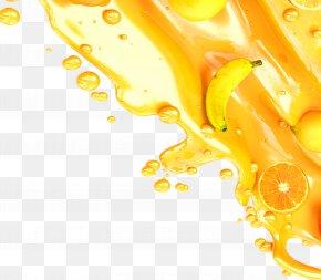 Banana Lemon Orange Juice Yellow Background - Orange Juice Yellow Wallpaper PNG