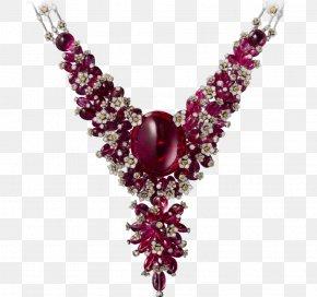 Cobochon Jewelry - Ruby Necklace Jewellery Cartier Białe Złoto PNG