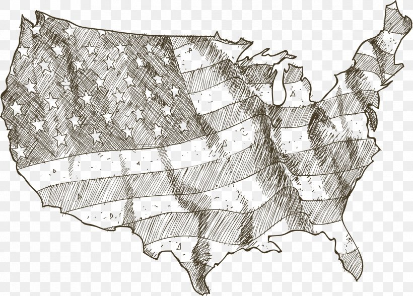 Drawing Stock Illustration Vector Map Illustration, PNG, 2379x1708px, United States, Black And White, Drawing, Flag, Flag Of The United States Download Free
