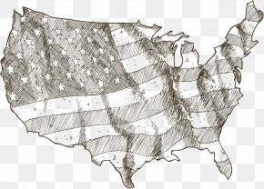 Hand Painted American Flag Map - Drawing Stock Illustration Vector Map Illustration PNG
