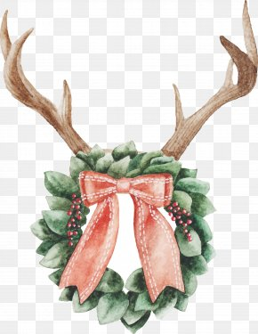 Watercolor Antlers - Christmas Day Watercolor Painting Christmas Ornament Reindeer Christmas Lights PNG