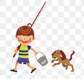 Cartoon Puppy Fishing Rod And Bucket - Fishing Rod Drawing PNG