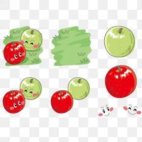 Green Apple And Red Apple Cartoon Vector Material - Apple Cartoon PNG