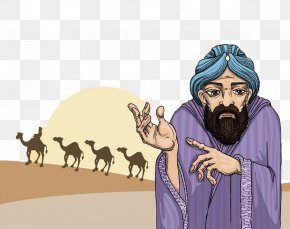 Desert Muslims And Camels - Stock Photography PNG