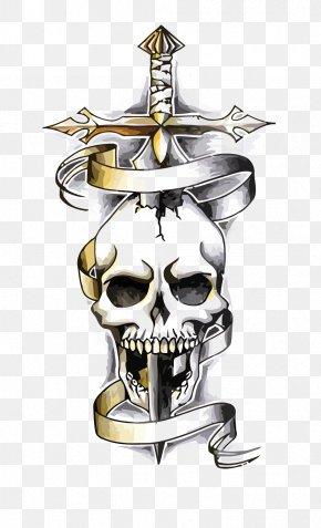 Vector Skeleton - Snake Dragon Human Skull Symbolism Tattoo Drawing PNG