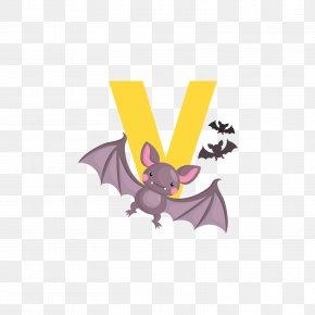 Yellow Bat Letter V - Bat Drawing Euclidean Vector Illustration PNG