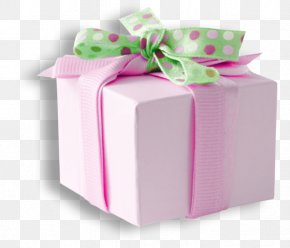 Pink Dot Bow Green Gift Box - Gift Box Pink Ribbon PNG