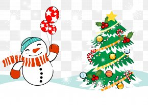 Snowman Wrapped In A Scarf Holding Balloons Happy Smile - Christmas Snowman PNG
